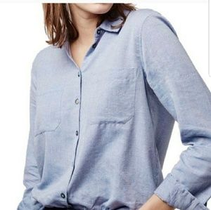 Topshop Chambray Button Down Top Size 2